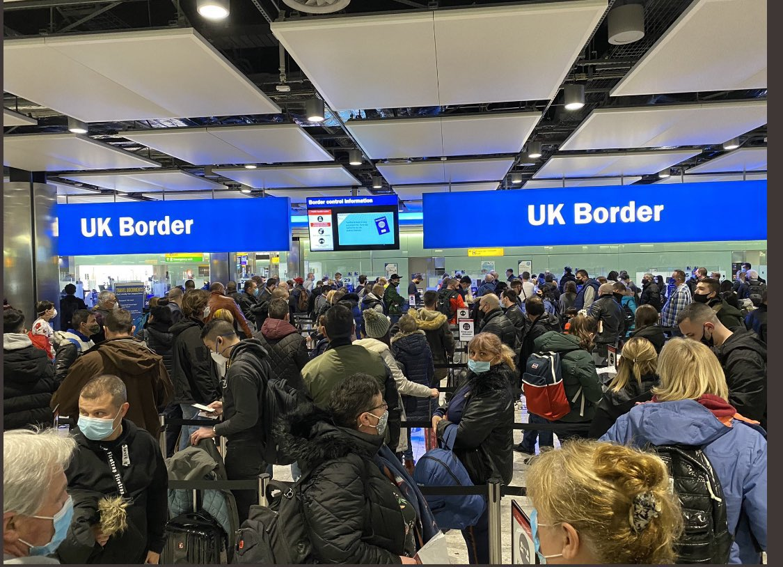 The UK: Repeatedly locking down the entire country and banning social gatherings. But for almost an entire year, being one of the only countries in the world with no testing, tracing or quarantining at airports. Here's the absolute state of Heathrow Airport yesterday.