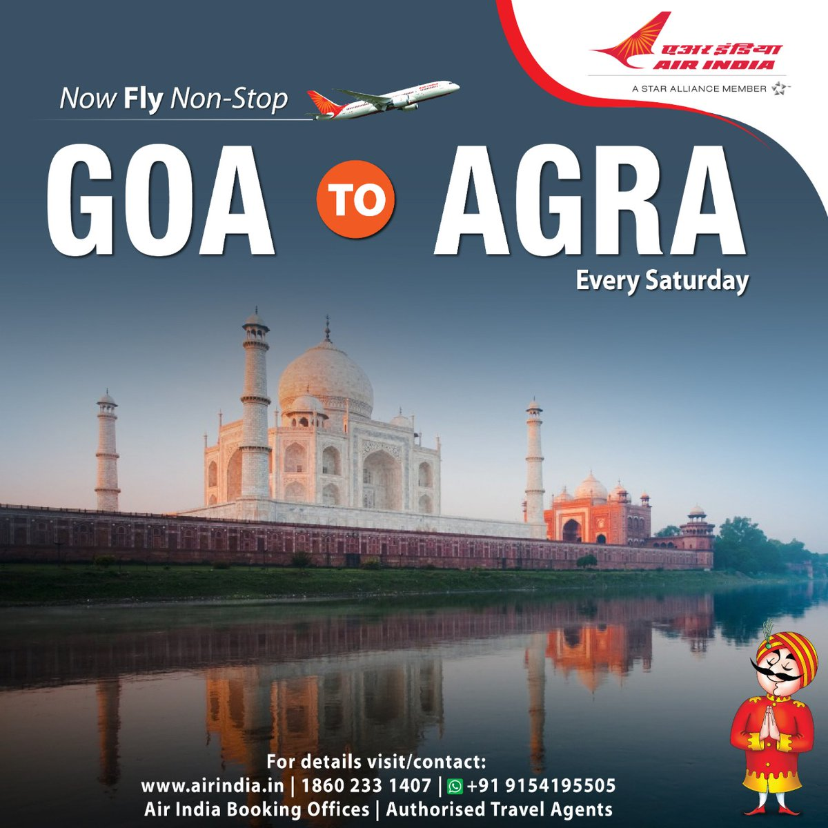 #FlyAI : Now fly non-stop from Goa to Agra every saturday.  To book seats, please visit our website