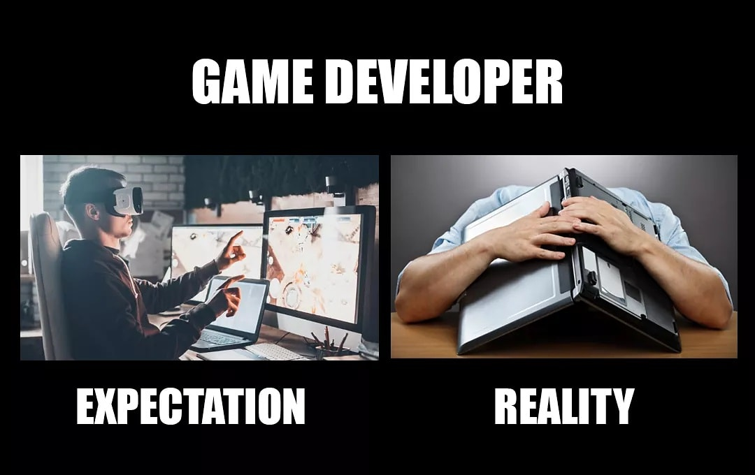 Some days things just don't go as planned 😅  #meme #reality #game #funny #memes #gamedeveloper #gamedesign #nerd #geek #expectation #love #gamer #gamedev #life #games #comedy #indiedev #art #dankmemes #truth #gaming #lol #memesdaily #gamedevelopment #graphicdesign #instagood