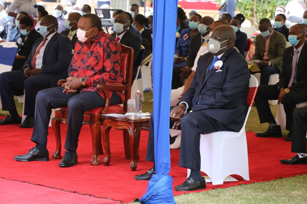 President Uhuru Kenyatta (left) and Education CS Prof. George Magoha today joined Catholic Church faithfuls at the Loreto Mary Ward Center in Karen, Nairobi County for a celebratory mass to mark 100 years of the Loreto Eastern Africa Province.