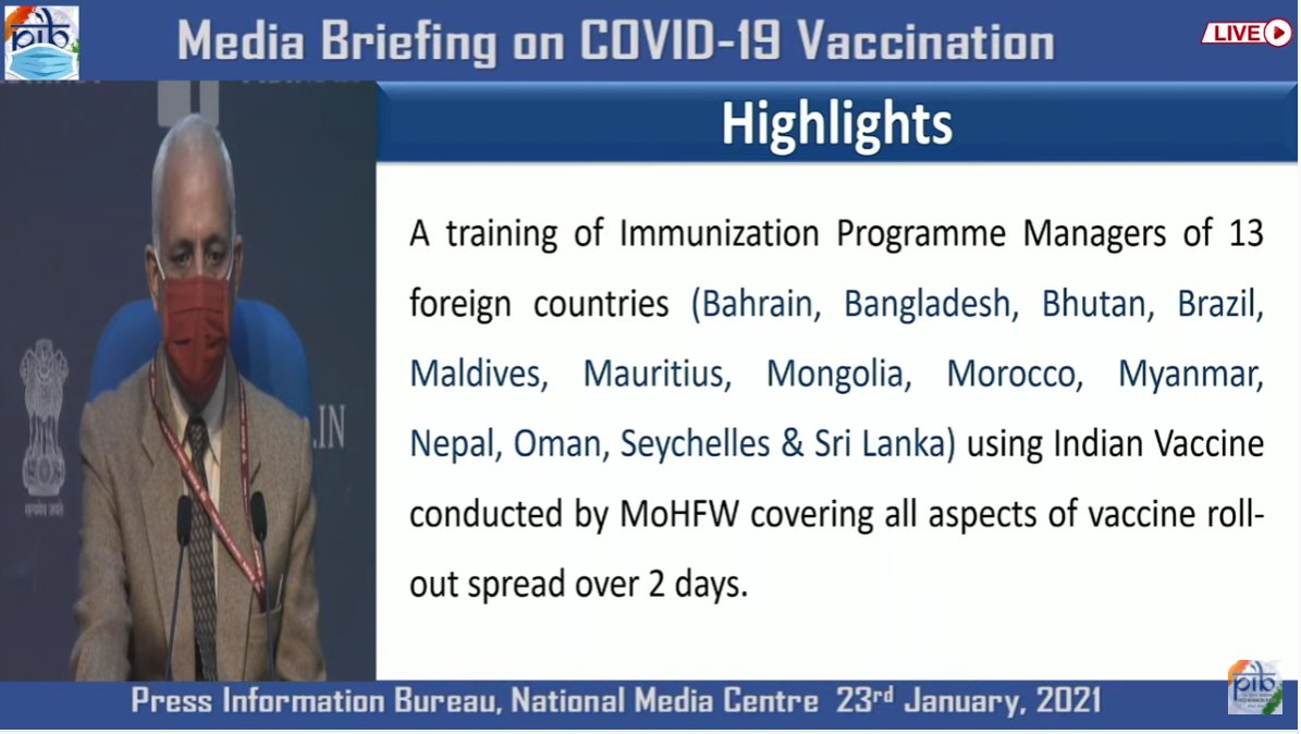 #IndiaFightsCorona:   📍Highlights:  ➡️A training of Immunization Programme Managers of 13 foreign countries using Indian vaccine conducted by @MoHFW_INDIA covering all aspects of vaccine rollout spread over 2 day.  #We4Vaccine #LargestVaccineDrive #Unite2FightCorona