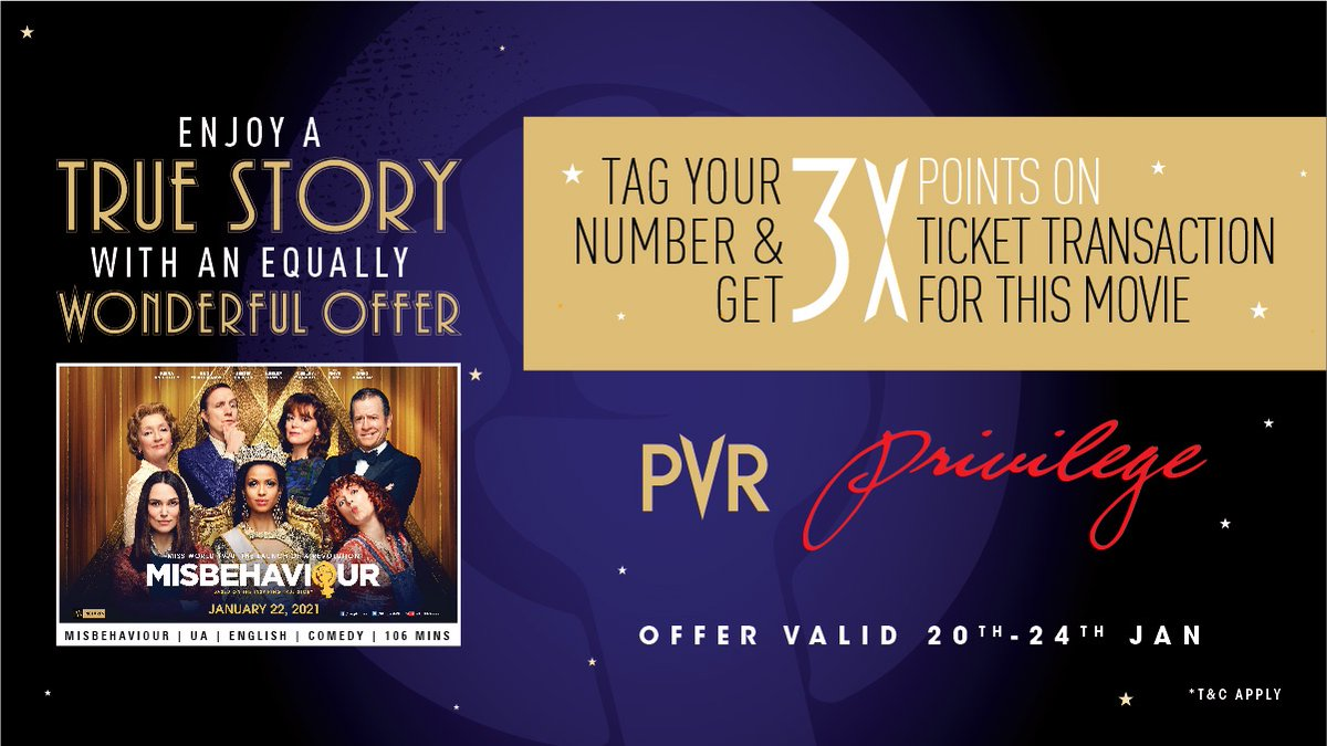#Misbehaviour is out now. Stand a chance to watch the movie with great offers only with #PVRPrivilege  Hurry!