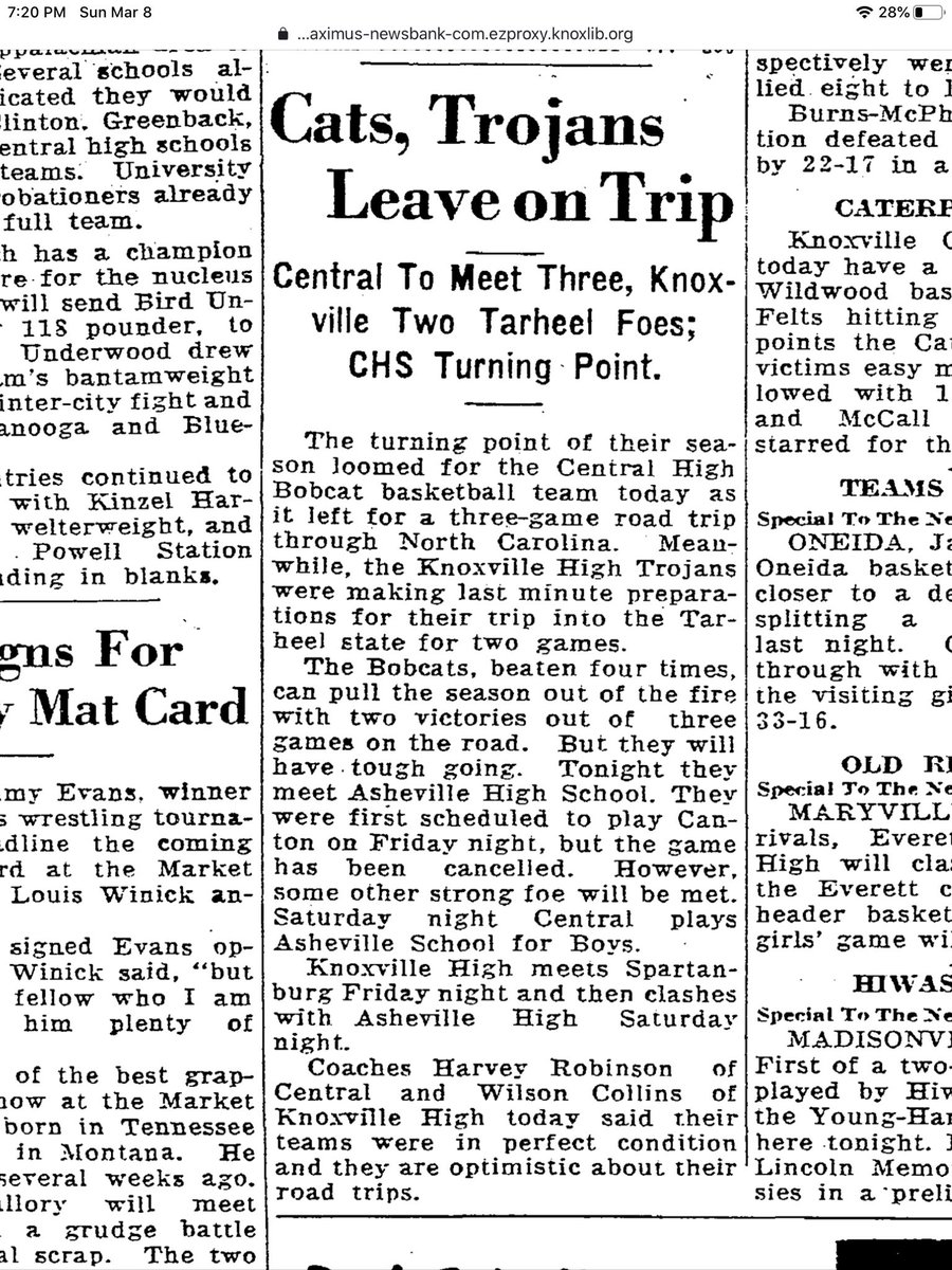 #TDIH  Thursday January 23 1936  preview  Central takes a trip to NC