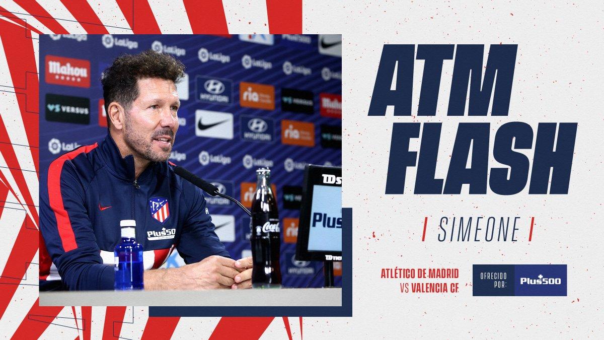 📡🎥 #ATMFLASH  ⚠ #AtléticosPorElMundo, a las 16:30 horas tenemos una cita para seguir aquí en directo, la rueda de prensa de @Simeone previa al #AtletiValencia.  🔴⚪ #AúpaAtleti