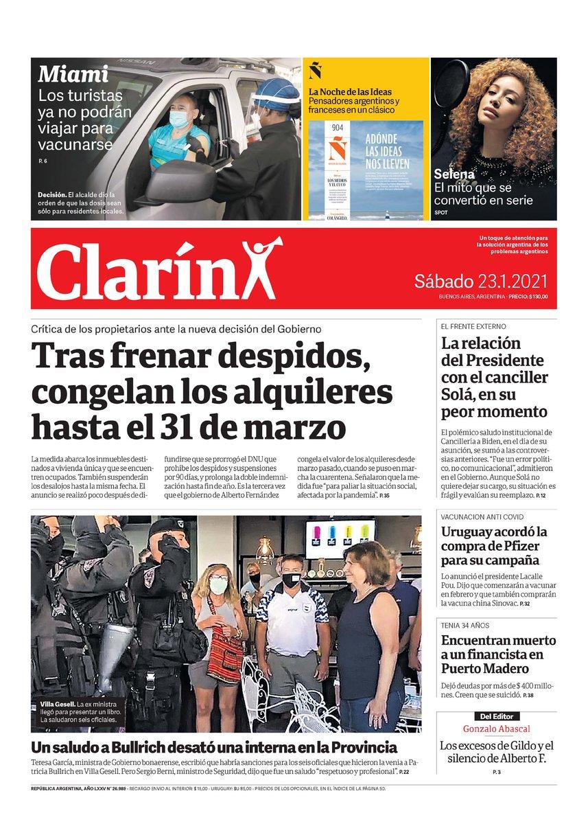 #Informate | Las tapas de los diarios de hoy.  #MaradonaEterno #D10S #LuqueComplicado #Coronavirus #VacunaRusa #AlquileresCongelados #PoliciaPro #FinancistaAhorcado #Miami #Lanus #DefensayJusticia