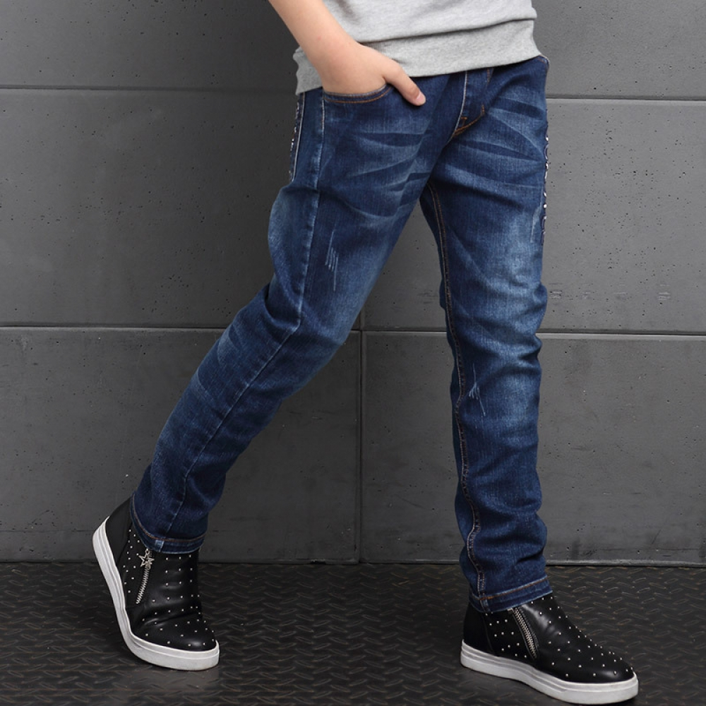 #love #baby Casual Boy's Jeans with Elastic Waist