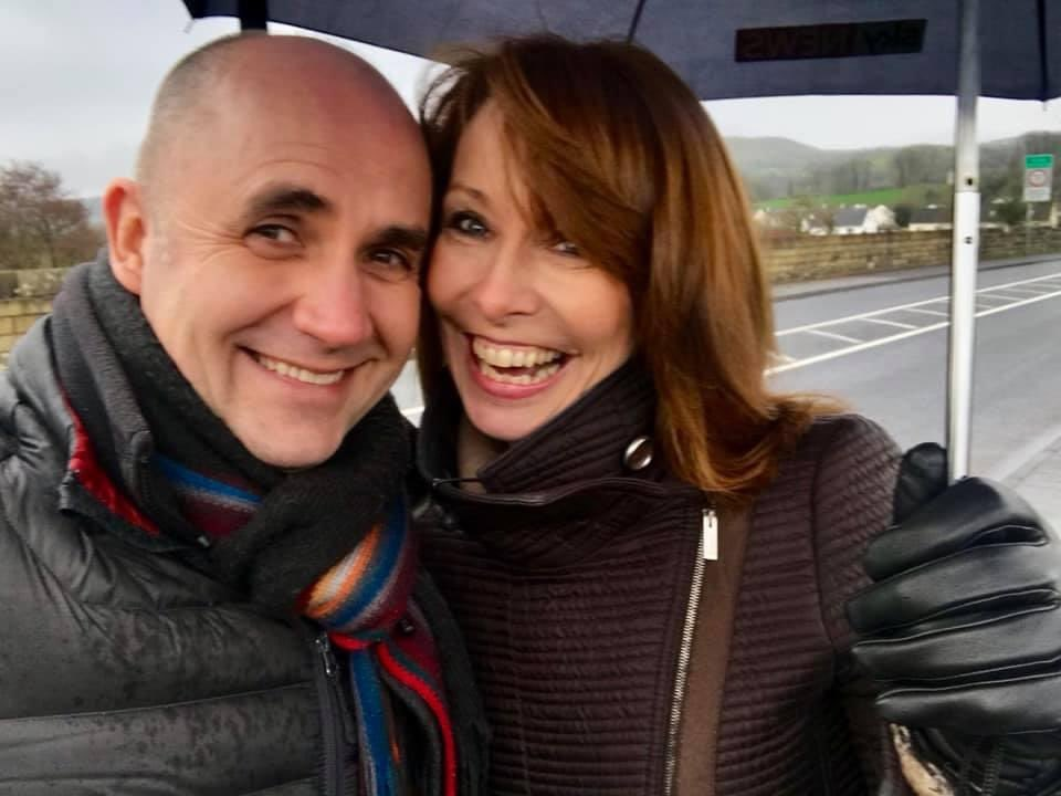 A smile that says we've been buddies forever.  The inimitable @skydavidblevins just sent me this photo as a reminder of two years ago today broadcasting from the Irish Border.  Smiling through the rain.