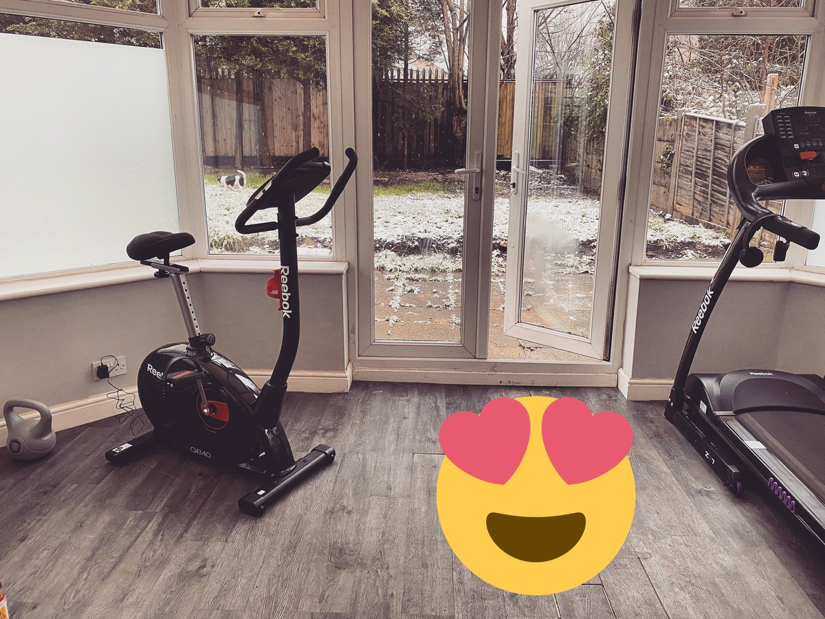 New toy is all set up! Lets go! #fitness #burnthosecalories #gym #home #garden #snow #exercise #bike