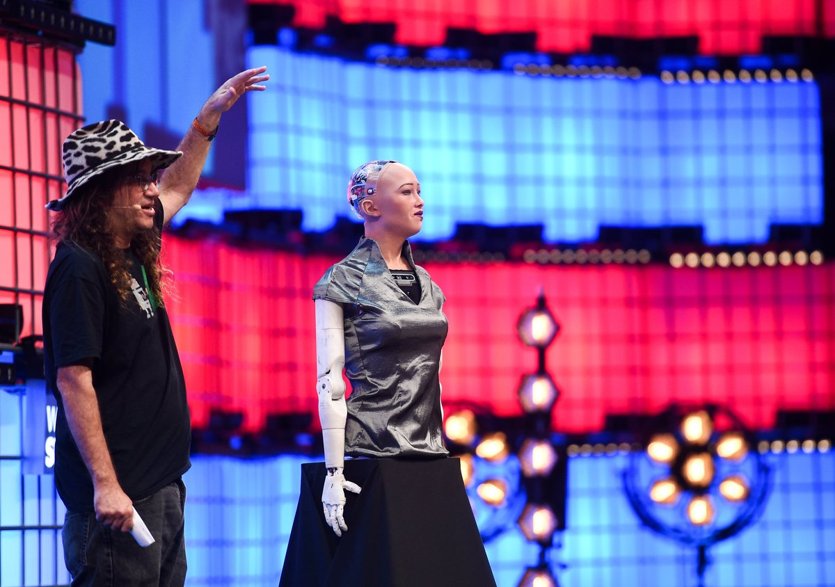 Will AI ever surpass human intelligence? 🤖  At #WebSummit, @singularity_net founder Ben Goertzel was joined by @RealSophiaRobotand @Hans__Robotto discuss just that! Check out what they had to say 👉