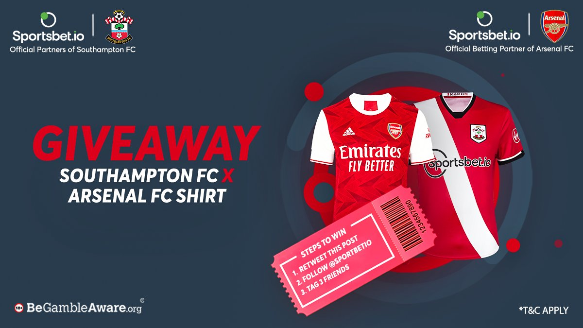 🚨It's  derby day! 🚨  👕 @SouthamptonFC 🤝 @Arsenal FC Shirt Giveaway! 👕  We are giving exclusive shirts of our partners 😁  How?  1. 🔁 This post 2. Follow @Sportsbetio 3. Tag 3 friends  ⚠ 2 separate winners will be announced by Jan 25, 13:00 GMT