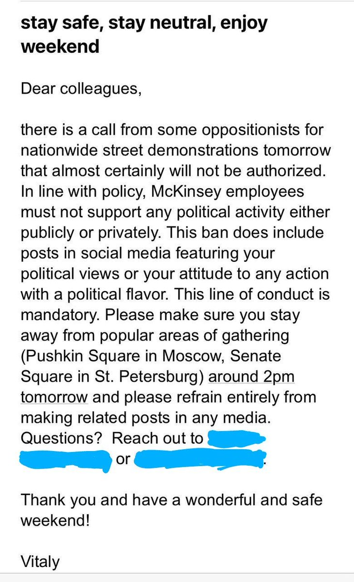 Letter from the @McKinsey office in Moscow forbidding its employees from attending today's rally and supporting it on social media