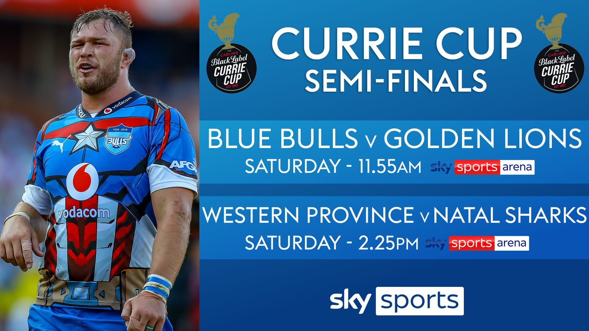 test Twitter Media - Both #CurrieCup semi-finals are live on Sky Sports Arena today 🏉  First up... the Blue Bulls 🐂 face the Golden Lions 🦁 from 11.55am. https://t.co/74DqdFZGJ8