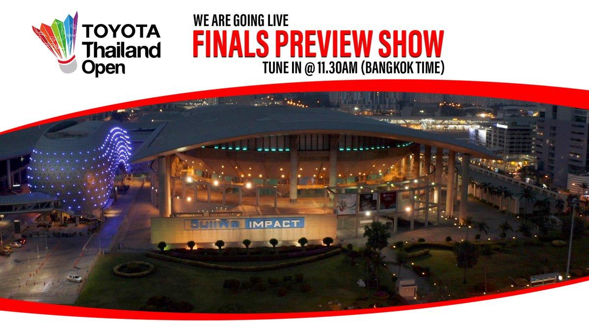Tune in LIVE for TOYOTA Thailand Open finals preview show at 11.30am (Bangkok time) on BWF Facebook.  Catch Gill Clark and Morten Frost 🎙️  #HSBCbadminton #BWFWorldTour #ToyotaThailandOpen https://t.co/Vtw6dWaevx