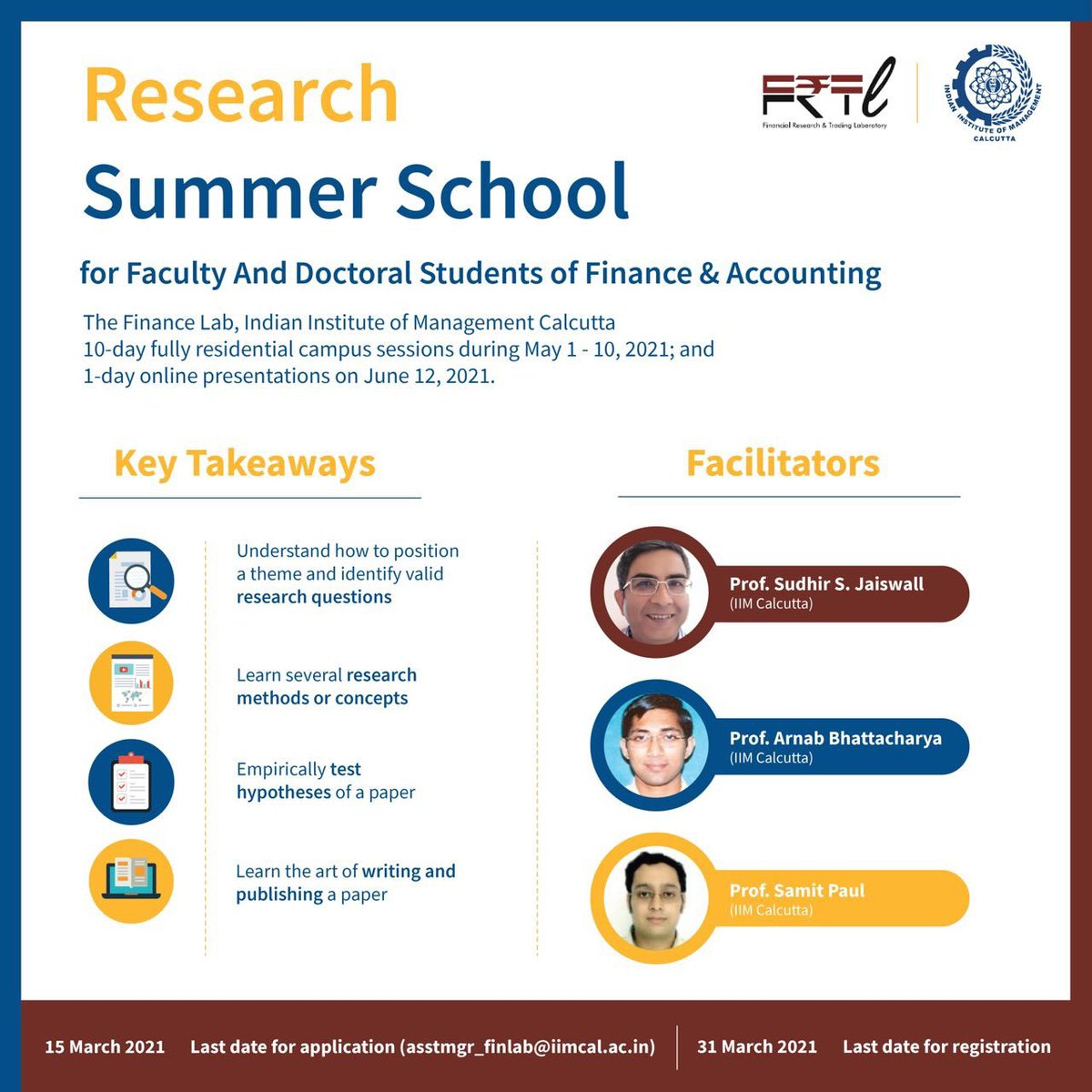 The Financial Research and Trading Laboratory of IIM Calcutta is organizing the 6th summer school on Empirical Finance and Accounting Research starting from May 1 - 10, 2021, and 1-day online presentations on June 12, 2021. Register now! https://t.co/nQ3E7r6B8p https://t.co/EX8IRKrizj