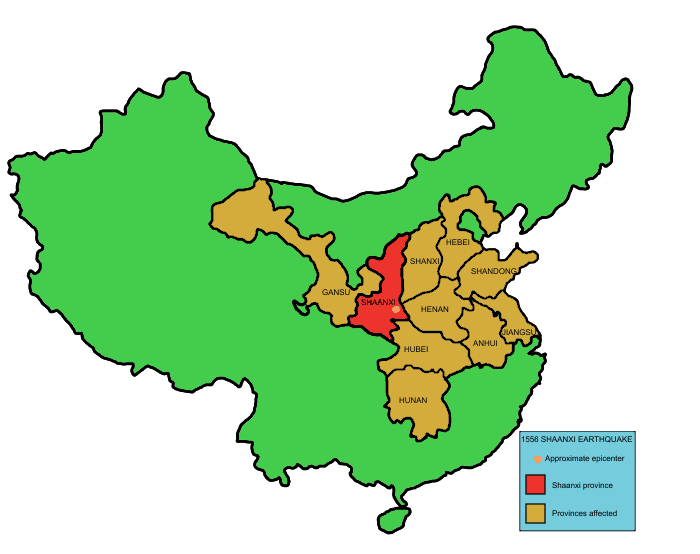 465 years ago today, the deadliest earthquake in recorded history occurred when a M8.0 earthquake strikes Shaanxi province.  The death toll, based on Ming Dynasty's records, was 830,000, and mostly due to collapsed yaodongs – artificial caves in loess cliffs.  Image: Wikimedia https://t.co/RL2wttJEW3
