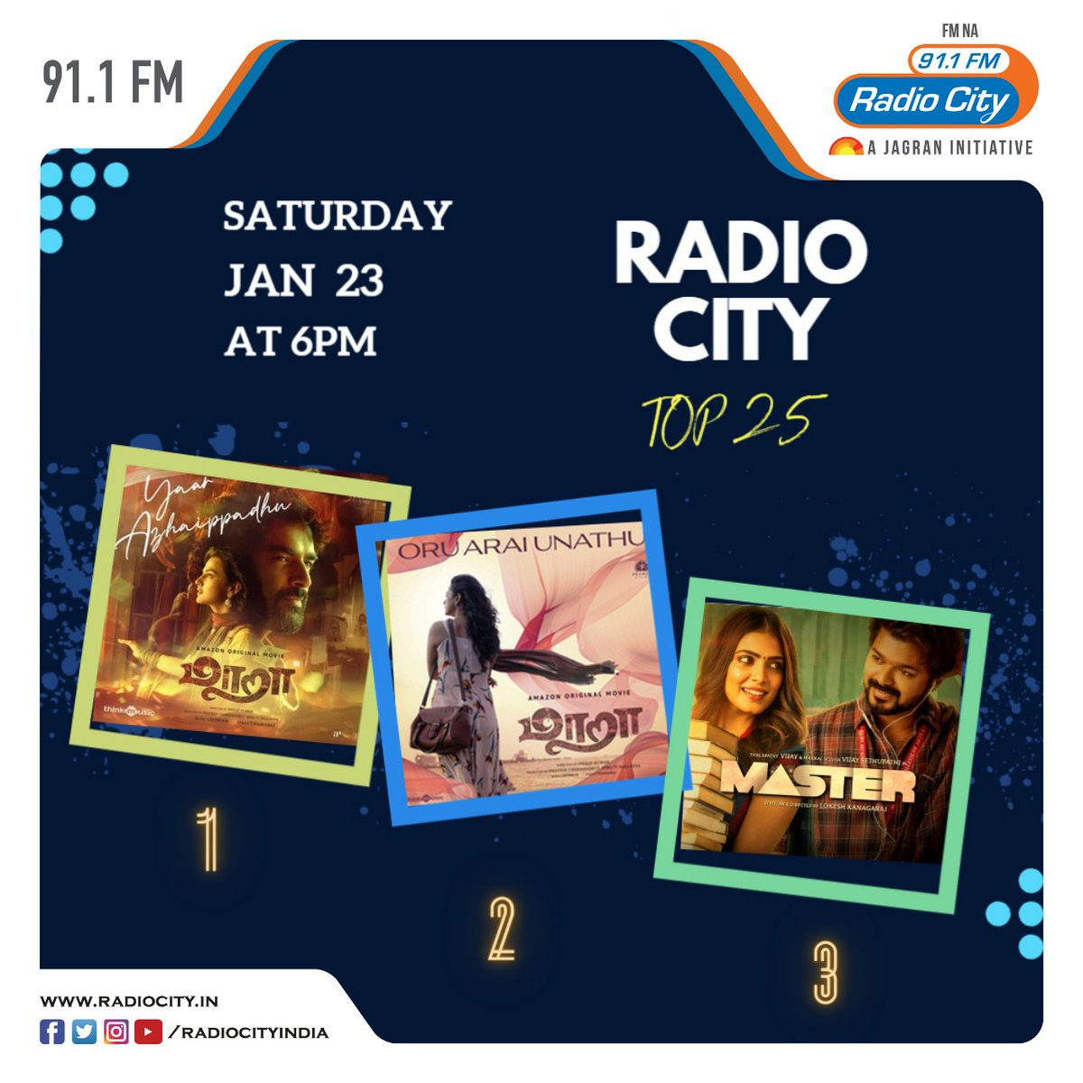 #RadioCityChennai  #TOP25  Top Three Songs of the week !!  #Maara #Master @GhibranOfficial @anirudhofficial  @thinkmusicindia @SonyMusicSouth
