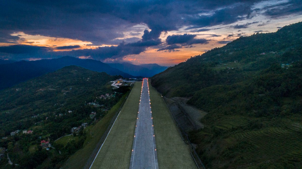 #Pakyong airport in Sikkim  finally operational from today with the landing of a #SpiceJet flight from New Delhi. Sikkim CM Shri @GolayPs  expressed his gratitude to @MoCA_GoI and the Minister in-charge, Shri @HardeepSPuri for their timely intervention.   @PMOIndia @sikkimgovt