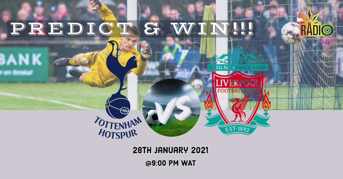 #PredictandWin N1000 airtime @SpursOfficial  vs @LFC 1. Follow our Twitter handle 2. Like and Retweet this post 3. Tag 3 friends 3. Subscribe to our YouTube channel via the link below send a screenshot as evidence 4. Predict   #SaturdayMorning #TOTLIV