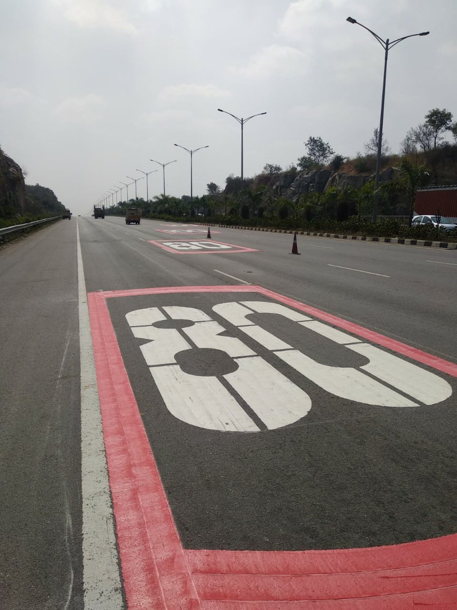 New speed limit marks on the ORR. 1st and 2nd lane - 100 kmph (max) 3rd and 4th lane - 80 kmph (max)   Follow speed limits and maintain lane discipline  #RoadSafety #RoadSafetyCyberabad #ORR #RoadSafetyWeek