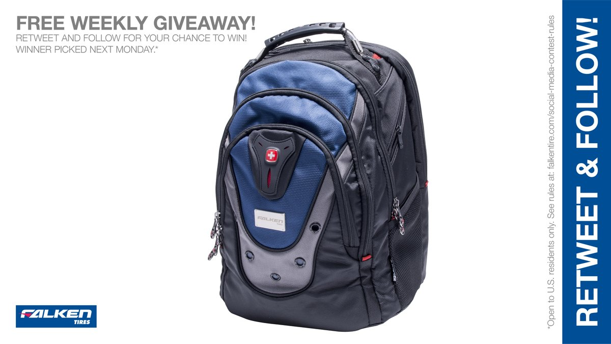 Custom Falken #Backpack weekly #giveaway #contest. RT & follow #FalkenTire to enter to #win this #prize or other #swag! Day6 Rules: