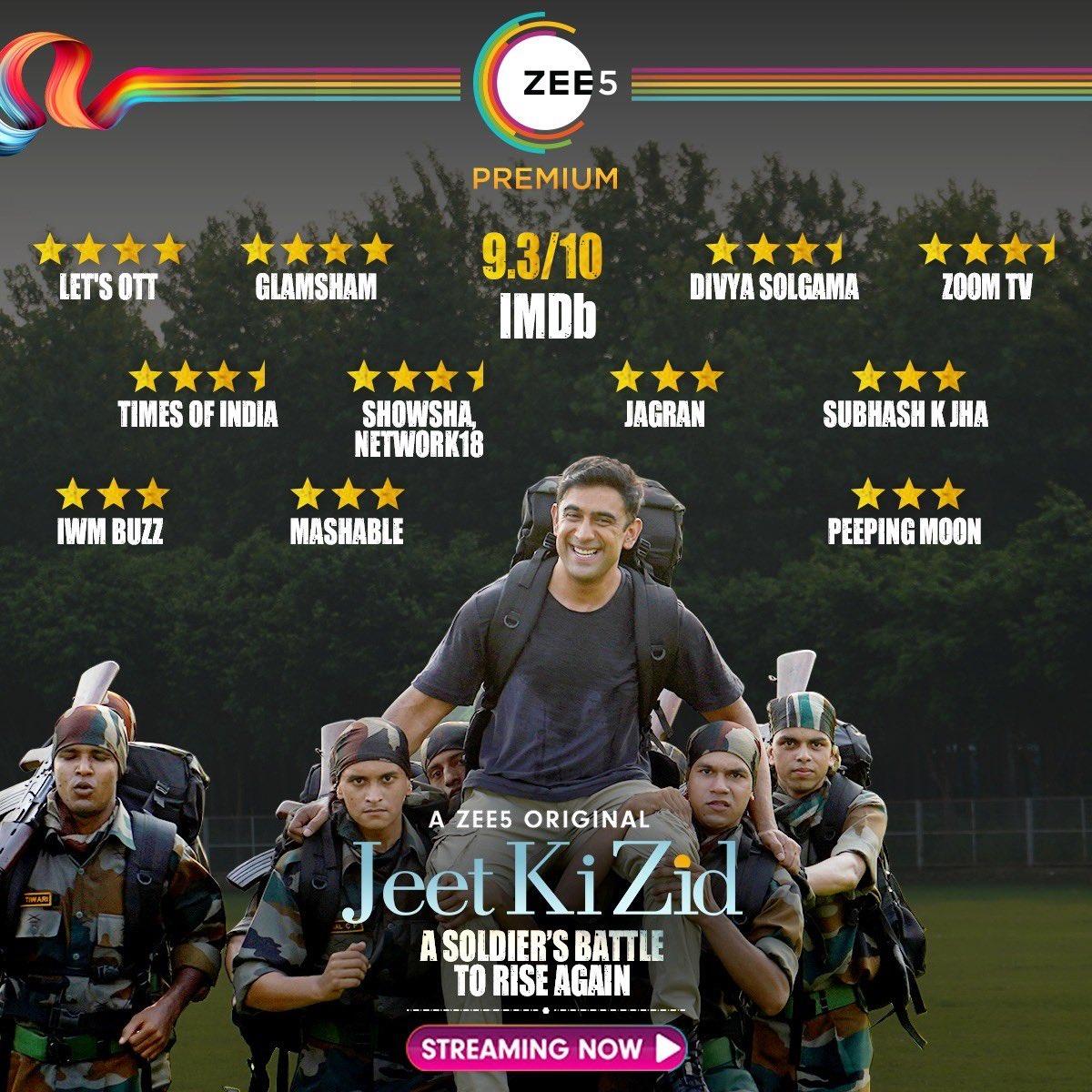 A star studded welcome shines on the tale of the Legendary Kargil War Hero, Major Deep ✨ #JeetKiZid Streaming Now!    @theamitsadh #AmritaPuri @freshlimefilms @BayViewProjOffl @akash77 @JoyArunava @sushant_says @AlyGoni @vish2vish @ZEE5Premium