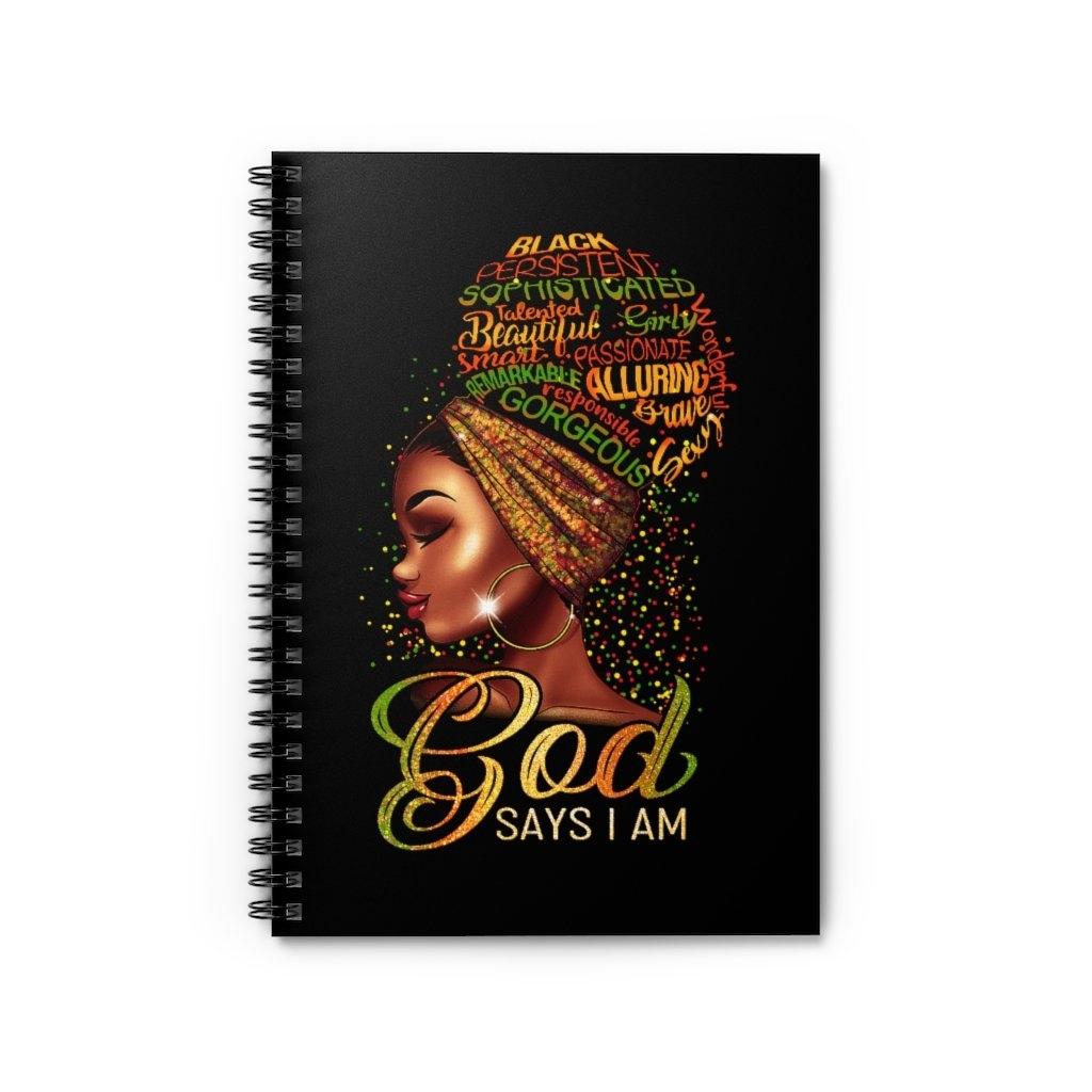 God Says I Am -Journal  Link:  #melanin  #afroqueen #blackqueen  #linedjournal #stationery #journal #planner #notes #design #stationeryaddict #paper #inspirationaljournal #journaling #faithnotebook #faith #journal #notebook #customjournal #ilovejesus