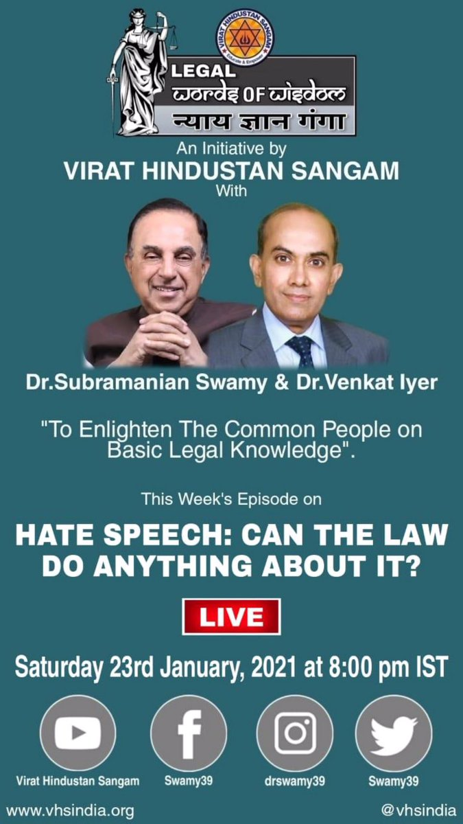 Today 8 PM live with Dr @Swamy39