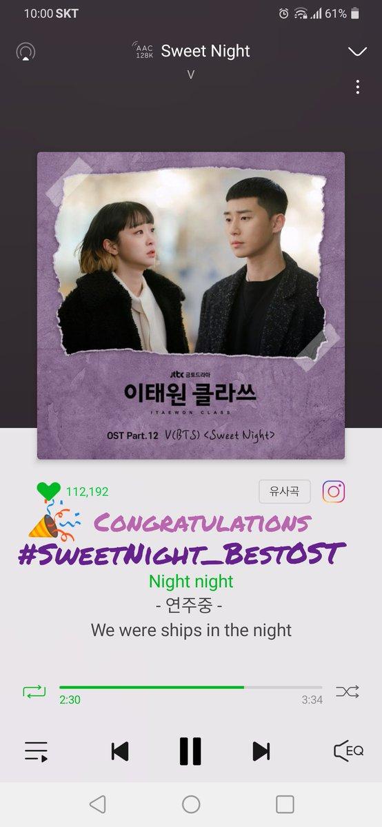 @aklowlichn81klo CONGRATULATIONS TAEHYUNG   #SweetNightBestOST  #SweetNight_BestOST상_축하해