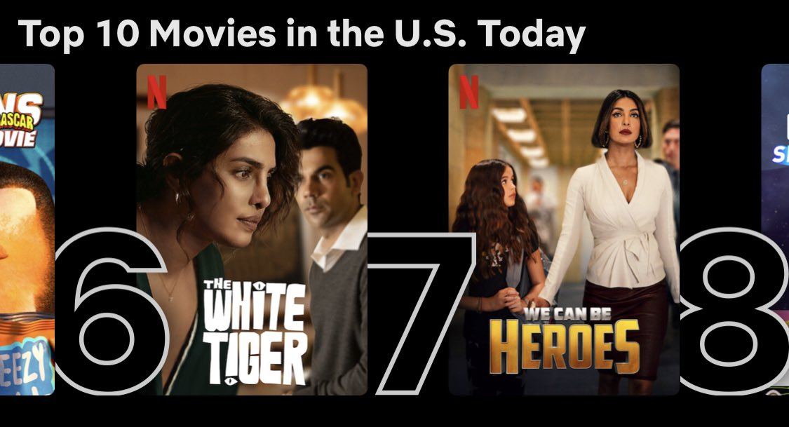 🤩👌🏾👏🏾 RT @PriyankaDailyFC: Two movies in the Top 10 on Netflix at the same time. Queen thing 🥳@priyankachopra #TheWhiteTiger #WeCanBeHeroes