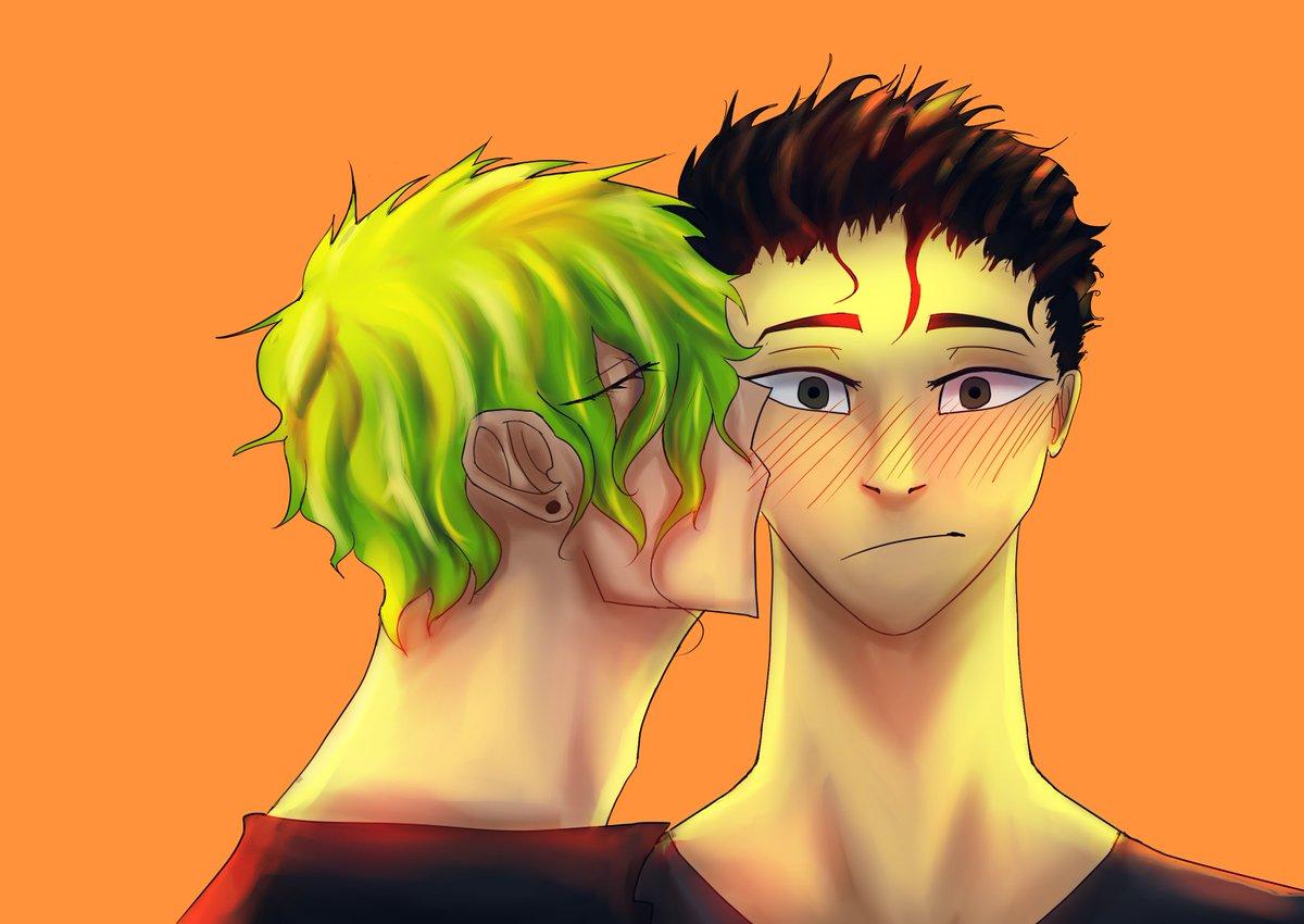 Mah boiz are bacc, Michael and Hanaka the most wholesome couple ever. I love em.  #art #digitalart #digitalpainting #digitaldrawing #couple #cute #cutecouple #gay #kiss #lighting #artpractice #oc #originalcharacter #ustrinagenesis