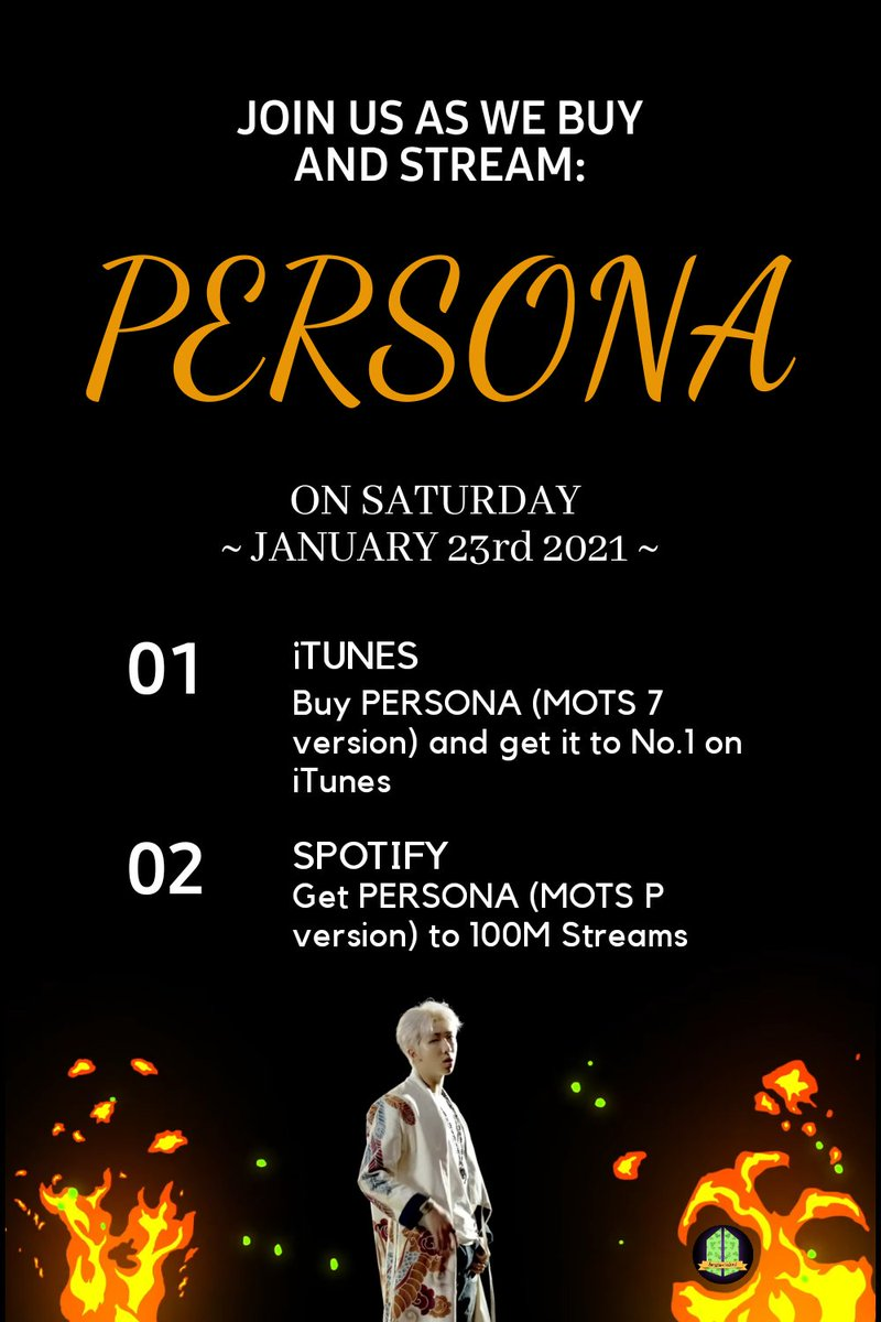 #PersonaCóisir BEGINS 🔥  1️⃣ BUY PERSONA (MOTS 7 ver) on iTunes []   2️⃣ Use our PERSONA + LGO main Spotify Playlist here 💜 []  We will be having a STREAMING Party later on today 😍 Please join us 💜   Dont forget to tag us ~ Sharina