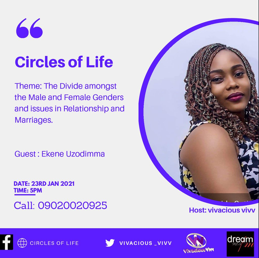 #CirclesofLife What is the Divide amongst the Male and Female Gender...? Using the Case study of the Stingy Men and Women Association/ Concept and Aims. Join @vivacious_vivv at 5pm @dream925fm  As a Man/Woman what else can you offer aside Money and Sex? Don'tMissIt #Timfa #Biden https://t.co/P8FyMndAdV