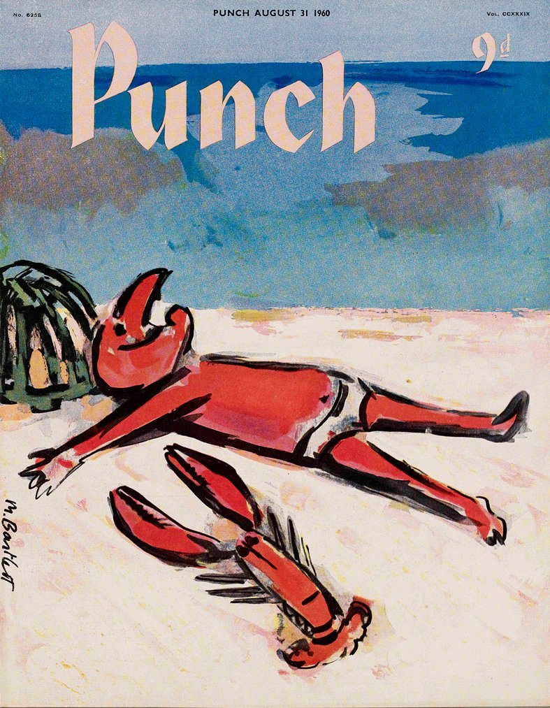 Today's PUNCH colour cover. Don't even think about it... it will only upset you. No sunshine holidays this year - apparently. 😿Michael Bartlett 1960. #illustrations #design #sun #beaches #holidays #vacations #sunbathing #Lockdown3 #travel