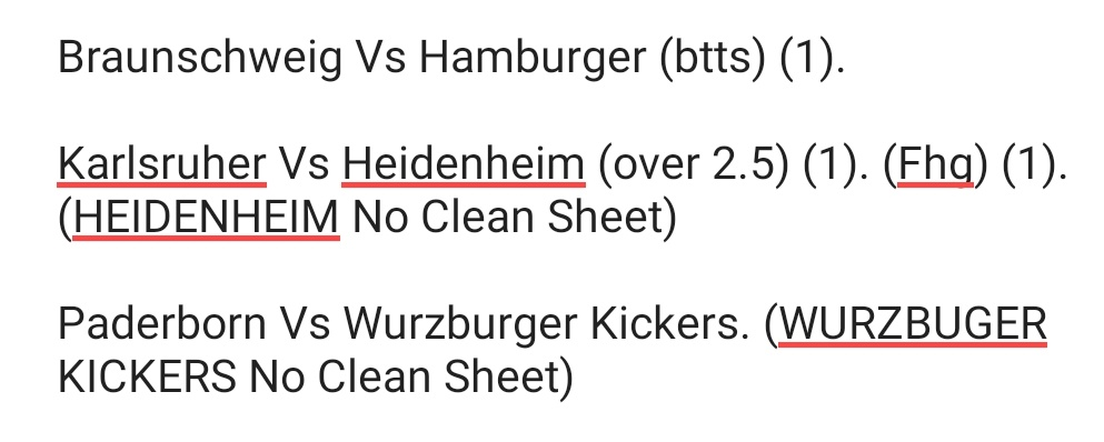 #Tips #football #soccer #SaturdayMorning   Good morning got a list coming your way later but won't get chance before the games in Germany kick off so here's tips for them 3 games.