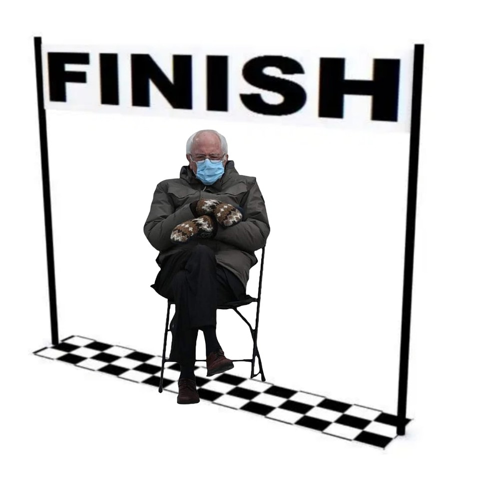Bernie's already at the finish line! (We couldn't resist 😂). Who's getting out there and joining him this weekend?  #weekendrunning #running #race #SaturdayMotivation #finishline #weekendvibes #run #5k #10k #halfmarathon #marathon