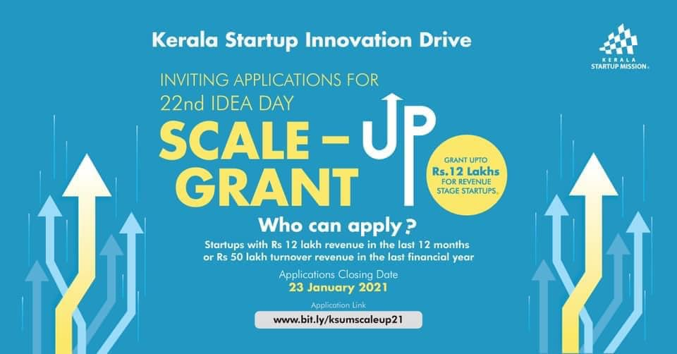 LAST DATE TO APPLY!  Are you looking for funding to scale-up your business?  Apply for #Kerala #Startup Mission's Scale-up Grant and stand a chance to get a grant up to Rs 12 Lakhs.  Link:   #KSUM #Startups #India #grant #fund #Scaleup #SaturdayMotivation