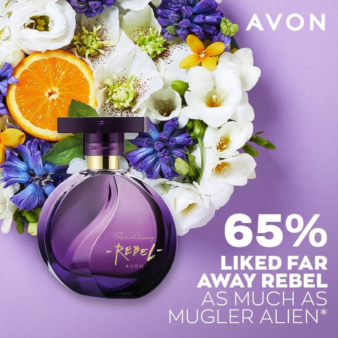 Designer fragrances have competition with our ⭐ fragrance sellers at Avon. In our Blind scent Test 🙈 65% of you liked Far Away Rebel as much as Mulgler Alien* 🤩 and, it's only £8 right now!  *Based on an online consumer study with 203 respondents #perfume #faraway #essentials