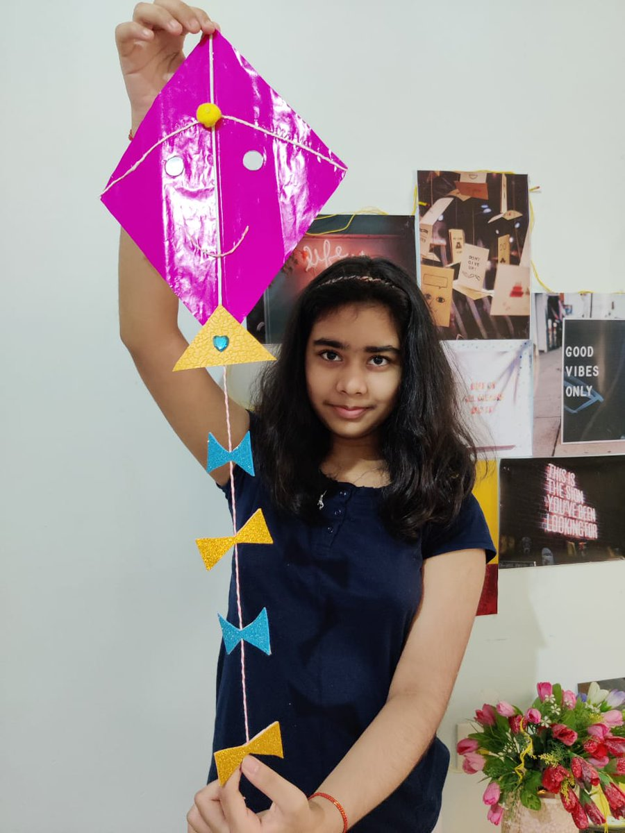 Children used colourful kite paper, two broom sticks, glue, cello tape and decorative things of their choice to make up a lovely kit using their creativity.  #MakarSankranti #KiteMaking