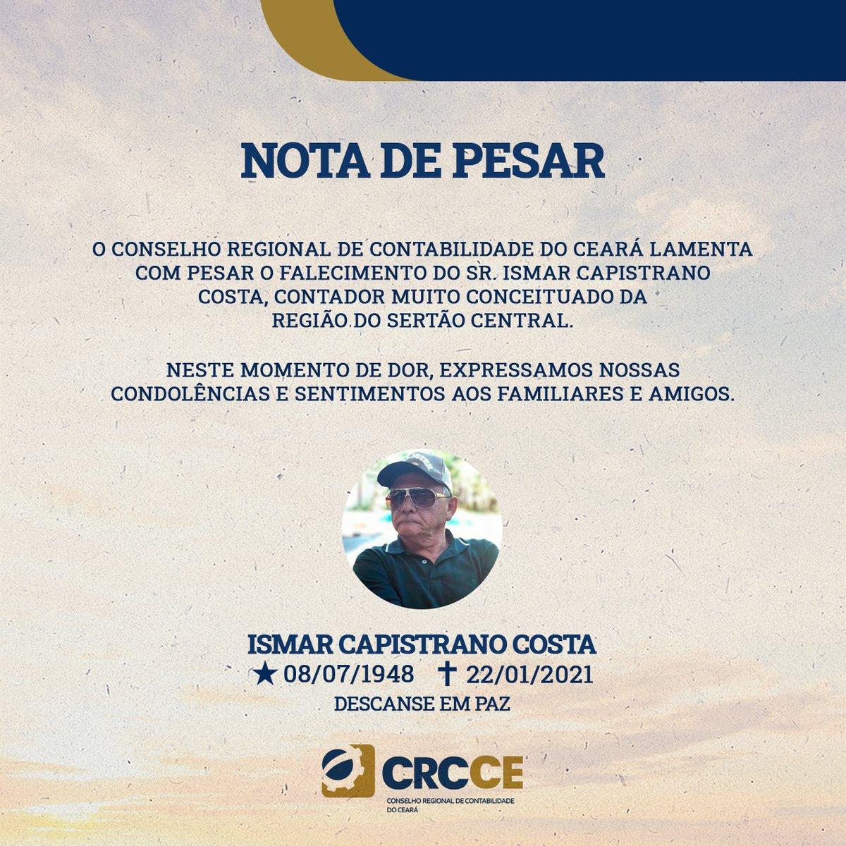 Na última sexta-feira, 22, um grande profissional, homem e amigo nos deixou. , Sr. Ismar Capistrano Costa, faleceu, mas deixou seu legado para os profissionais da cidade de Quixadá. ⠀ Nossos sentimentos à família e que descanse em paz.  #CRCCE #contabilidade #Eterno