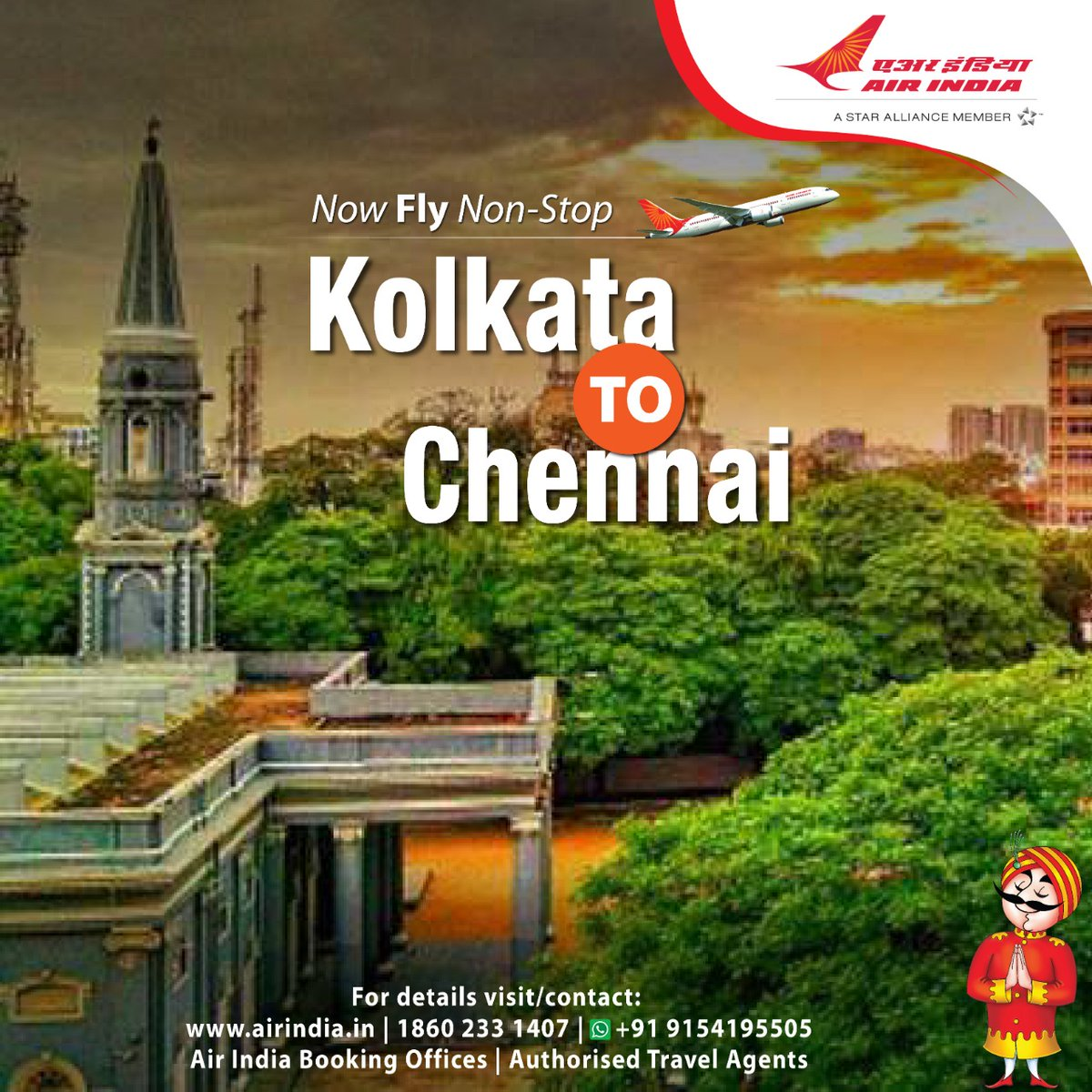 #FlyAI : Fly non-stop from Kolkata to Chennai.  To book seats, please visit our website  or call us on 18602331407.