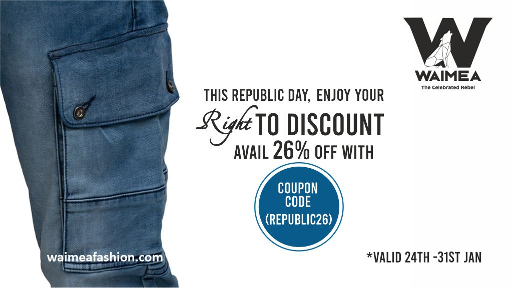 Celebrate this Republic Day with Flat 26% discount on Waimea Jeans and T-shirts. Offer valid from 24th January till 31st January 2021. Hurry!  Buy at   #WaimeaFashion #fashion #clothing #shopping #shoppingonline #Sale #RepublicDaySale #RepublicDay