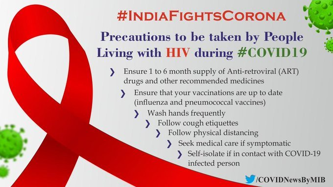 #IndiaFightsCorona:  📍Precautions to be taken by people living with #HIV during #COVID19  ➡️ Ensure 1 to 6 month supply of anti- retroviral (ART) drugs and other recommended medicines   #Unite2FightCorona #StaySafe