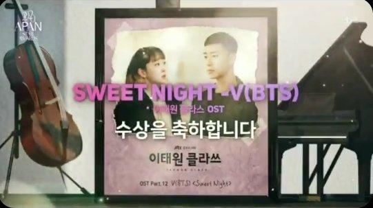 """🎉 FELICIDADES TAEHYUNG✨  """"Sweet Night"""" gano el premio 'BEST OST' en los APAN Star Awards!  ✨Es una canción hermosa que se lo merece todo.💜 CONGRATULATIÓN TAEHYUNG  #SweetNightBestOST #SweetNight_BestOST상_축하해 @BTS_twt"""