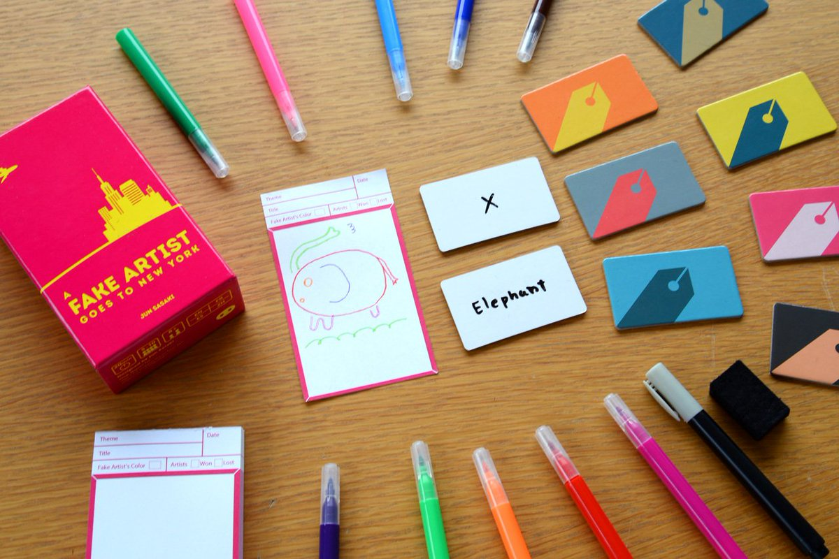 FAKE ARTIST is a ridiculously fun drawing-guessing party game for 5-10 players. Again, tiny card box.