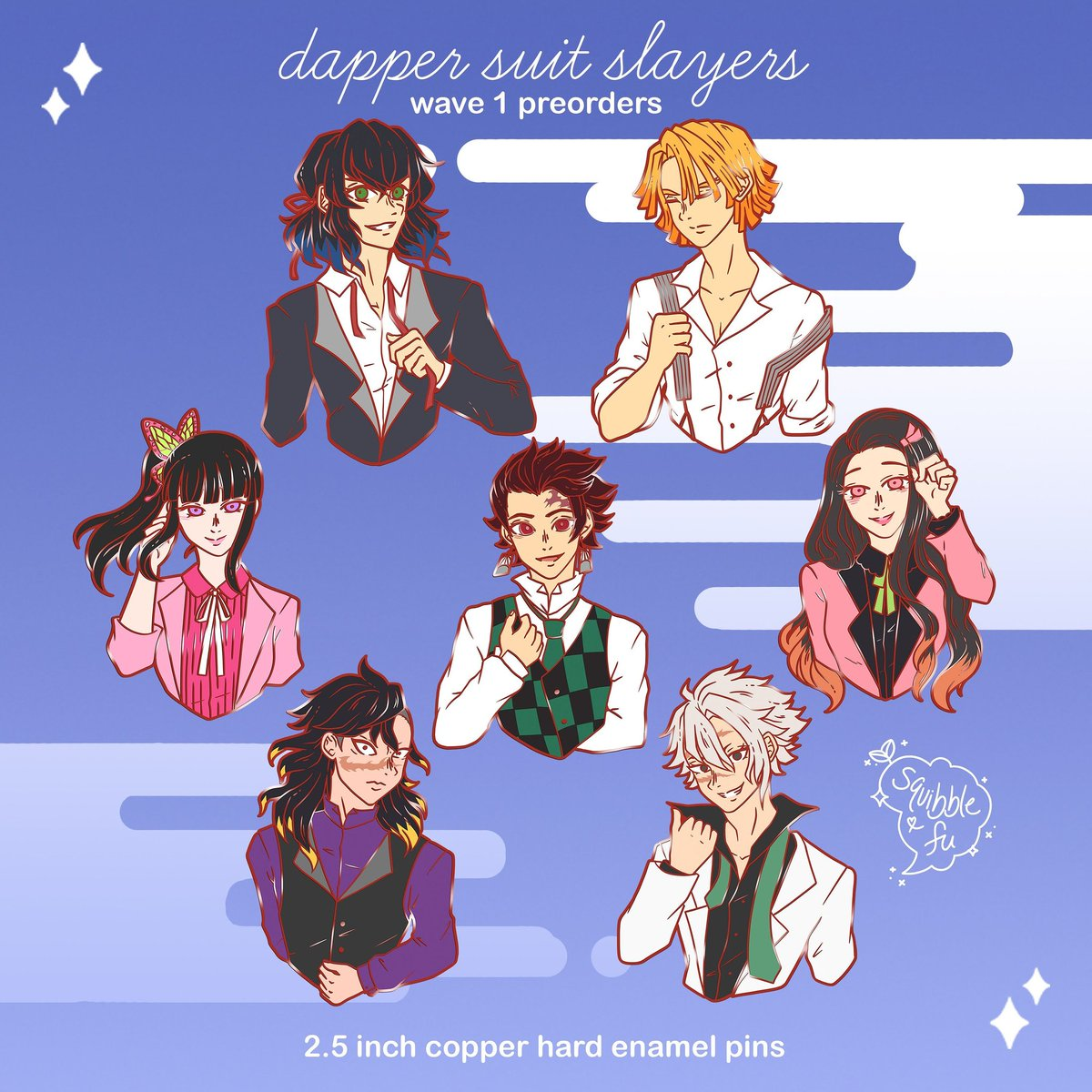 ONE DAY and a half left to pre-order my Dapper Suit Slayers, I've received enough orders to cover production costs of 2 /7 designs 💖 RTs appreciated so I know to make more KnY chara pins in the future!  #DemonSlayer #kimetsunoyaiba #kny