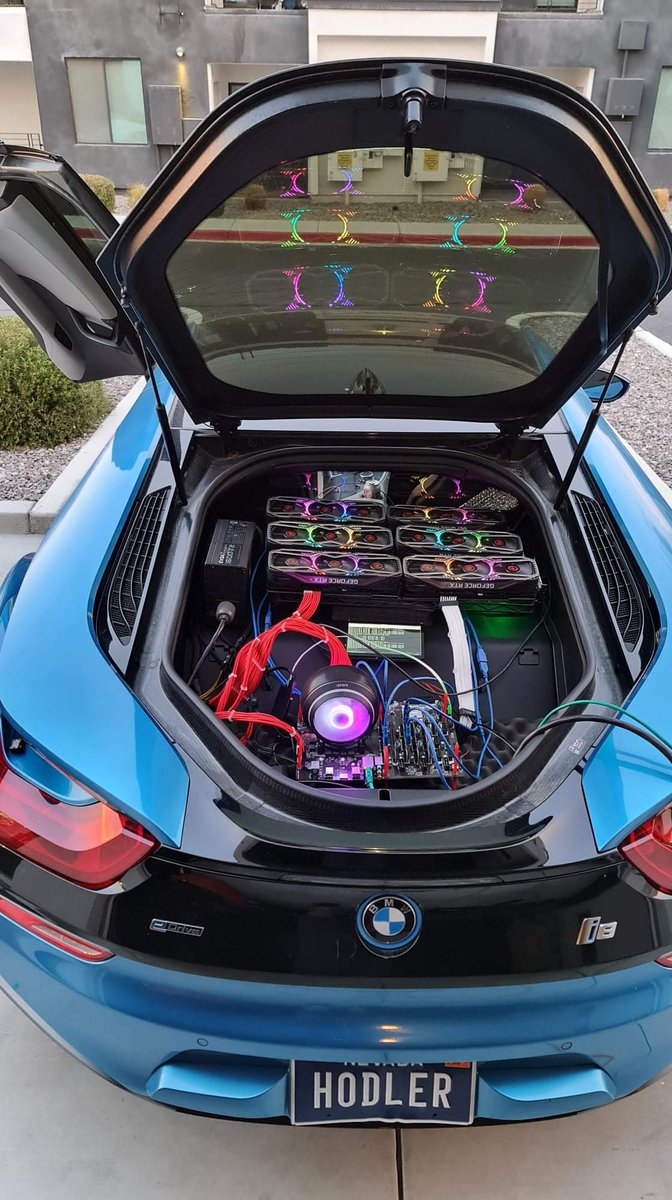 The only practical use for the trunk of an i8 is to home a 6 x RTX 3080 mining rig.   *no gamers were harmed in the making of this photo.  #HODLER #BMW #BMWi8 #i8 #NVIDIA #RTX3080 #CryptoMining #BTC #Bitcoin #ETH #Ethereum #EatSleepMineRepeat