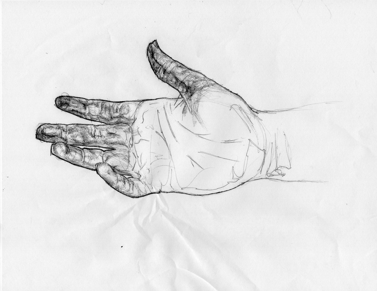 A while back I was skateboarding and I fell and messed up my hand. I couldnt draw for weeks cuz it hurt. It pissed me off and I hated looking at my hand. So one day, I said fuck it and decided to draw my hand, this was the result.