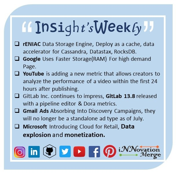 """ Insight's Weekly by InnovationMerge ""  #insightsweekly #reniac #youtube #google #gitlab #gmailadd #microsoft #datastorage #deployment #cache #searchegine #casandra #rocksdb #metric #speed #data #docker #dorametrics #campagin #cloud #dataexplosion #monetisation #speed #coding"
