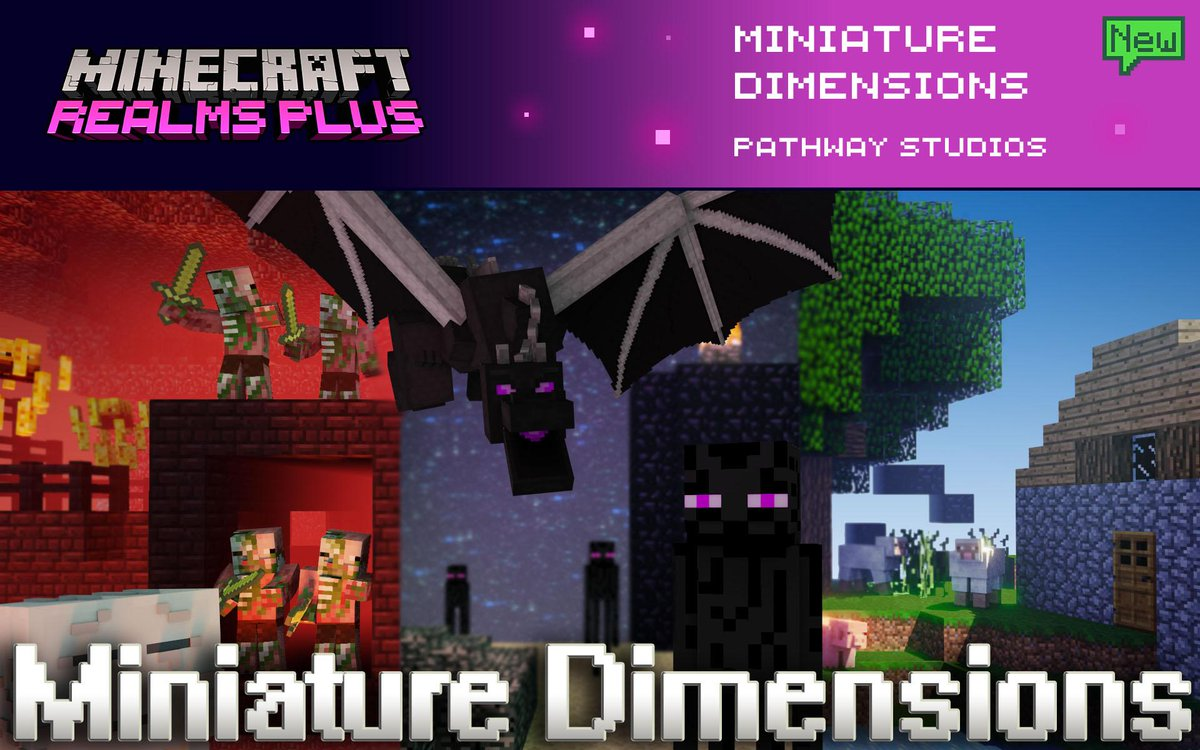 Tired of searching for every resource? Want to fight the dragon without hours of preparation? Enter Miniature Dimensions by @PathwayMC! Take on a dragon, or build the house of your dreams with easy access to every resource. Now included in Realms Plus!  🐉