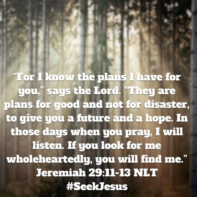 """I know the plans I have for you,"" #GodSaid""They are plans for good& not for disaster, to give you a future &a hope. In those days when you #pray, I will listen. If you look for me wholeheartedly, you will find me.""Jer29:11-13 #SeekJesus #SaturdayMorning"